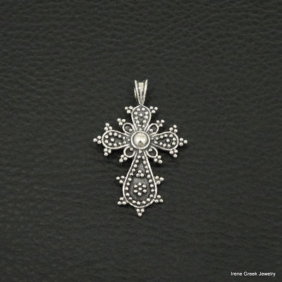 Medieval Byzantine Cross 925 Sterling Silver Greek Handmade Art Luxury