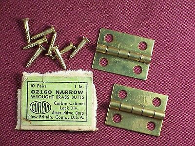 "2 Vintage Corbin Jewelry Box Solid Brass Hinges and Screws 1"" x 3/4"""