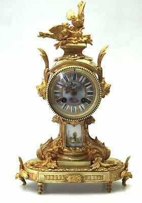 Antique Sevres Ormolu Mantel Clock French 8 Day Solid Bronze Pillar Mantle Clock