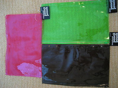 Pencil Pouch - set of 3 - neon green, pink & translucent tint