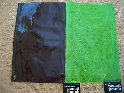 Pencil Pouch - set of 2 - neon green & translucent tint
