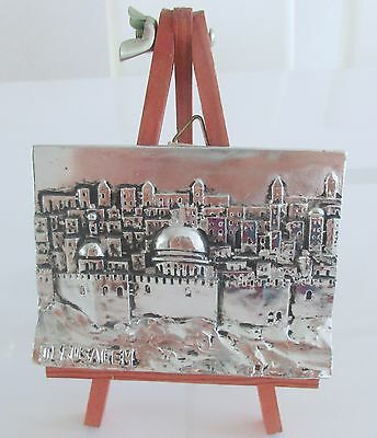 ***925 Sterling Israel Jerusalem Sculpture Art Plaque By Israeli Artist Saad***