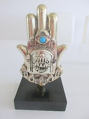 ***Judaica Vintage Hamsa On Pedestal Marked 925 Silver By H. Karshi***