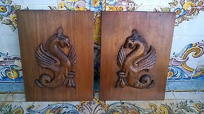 Pair Antique Hand Carved Wood Panels Dragons