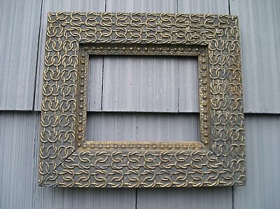 Rare Antique Aesthetic Victorian Chain Link Picture Frame Aged Blue Paint 8 x 10