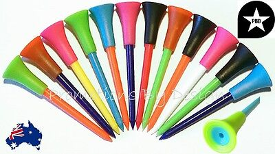 50 x Top Quality Large 85mm Plastic & Rubber Cushion Top Golf Tees Mixed Colors