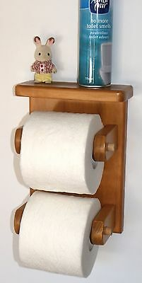 toilet roll holder,wooden,hand made,holds 2x rolls unique!!