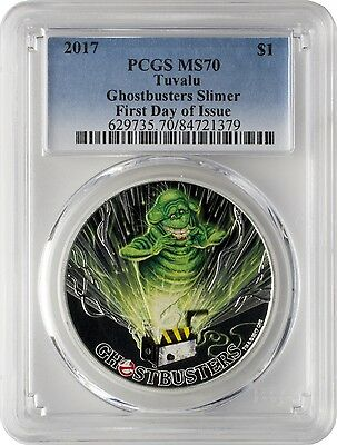2017 $1 Tuvalu Ghostbusters Slimer .9999 Silver Coin PCGS MS70 First Day