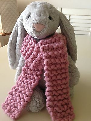 New Hand Knit Soft/Chunky 100% Merino Wool Scarf(Unisex)1-8 yrs.~Rose Petal