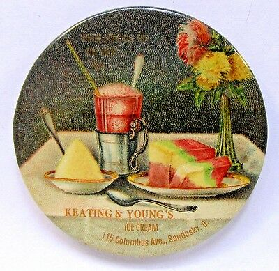 circa 1910 KEATING & YOUNG'S ICE CREAM Sandusky OHIO celluloid pocket mirror *