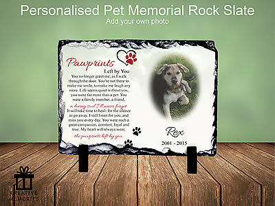 Pet Dog Photo Memorial Slate Plaque - Personalised - FREE PROOFING