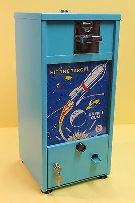 VINTAGE ROCKET HIT THE TARGET GUM BALL MACHINE 1 cent penny unused NOS 1950s