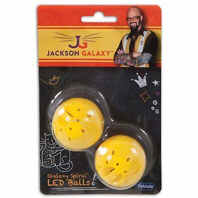 Petmate Jackson Galaxy Spiral LED Ball Sounds Automatic Pet Cats Play Toy 2 Pack