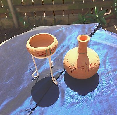 """2 Pc Old Touristy Clay Pottery """"apache Indian Reservation - Ariz"""""""