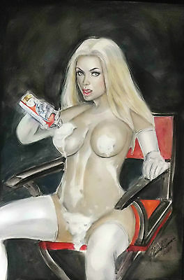 """Sexy EMMA FROST (White Queen) Original Pin-Up Art by Almira Francisco. 11"""" x 17"""""""