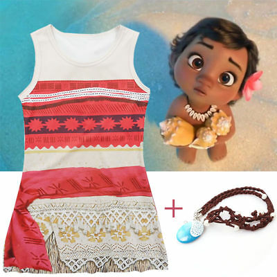 Girls Kid Moana Princess Costume Fancy Dress Necklace Costume Sleeveless Cosplay