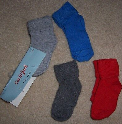NEW - 4 Pair Lot Boys Cat & Jack Socks -  Size 2T 3T / 2 Years / 3 Years