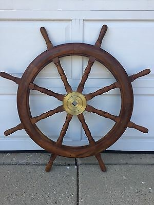 Ships Wheel Solid Teak With Solid Brass Center To Wheel (Local Pickup Only)