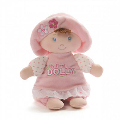 My First Dolly Rattle Doll Toy by Gund Soft Plush Baby Toy Brunette New 18 cm