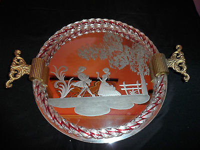 Vintage Murano Venetian Etched Mirrored Glass Red Rope Twist Tray