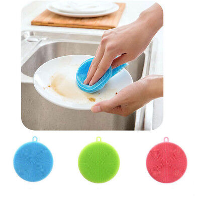 Hot Silicone Dish Washing Sponge Scrubber Cleaning Antibacterial Kitchen Tools