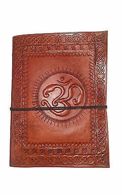 Hand Made Leather Bound Book/Journal Natural Recycled Paper-Om Symbol-18 x 13 cm