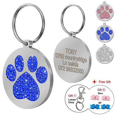Bling Round Paw Print Custom Pet Disc Dog Tags Engraved with 2pcs Dog Hair Bows