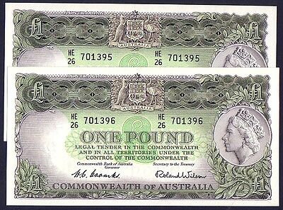 R33 - ONE POUND Coombs/Wilson - Superb RUNNING PAIR Uncirculated.