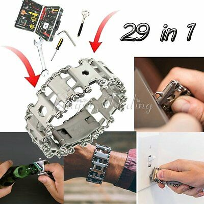Stainless Steel Multifunction Bracelet Wristband Screwdriver Wrench Safety Tool
