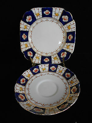 Standard China England Imari Pattern Square Side Plate And Saucer C1920's
