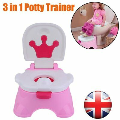 Crown 3 in 1 Music Baby Potty Training Toilet Chair Seat Ladder Trainer PR