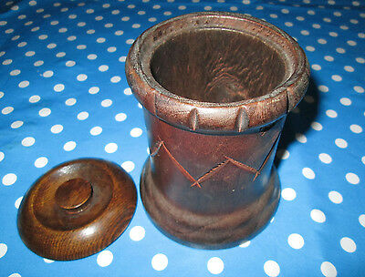 VINTAGE HAND DECORATED PATTERNED WOODEN POT WITH LID - Made in England