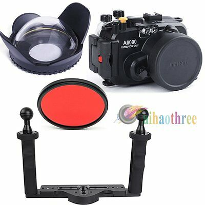 Meikon 40m/130ft Diving Case Fisheye Wide Angle Tray Kit For Sony A6000 16-50mm