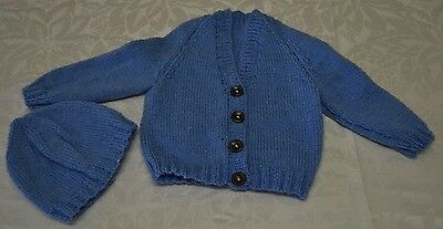 Hand knitted baby Cardigan, Beanie  set 3 to 6 months