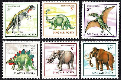 Hungary 1990 Prehistoric Animals Dinosaurs Complete Set of Stamps MNH