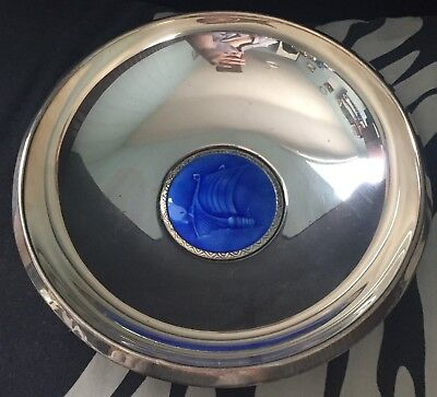 Collectable Solid Silver 830 Norway Blue Enamel Viking Boat Dish/Bowl Ottar Hval