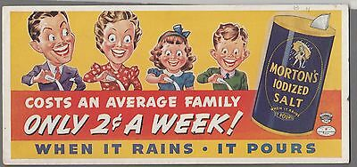 1930's Morton's Salt Ad - Only 2 Cents A Week - Neat INK BLOTTER Very Nice