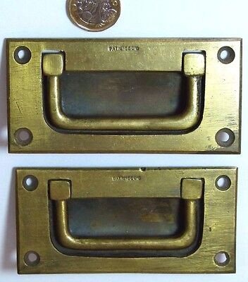 Pair Brass Antique Campaign Military Ship Chest/drawer/door Pull Handles