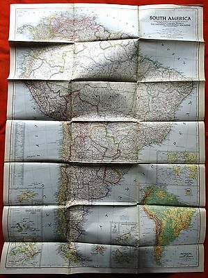 Vintage National Geographic Map 1950 South America