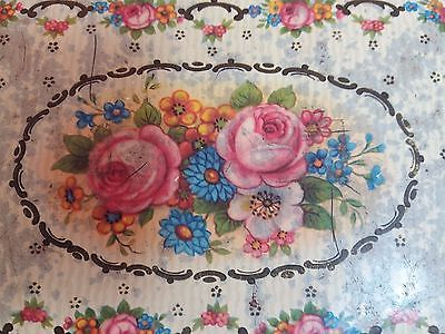 Vintage Georgian Tin Box Rose Shabby Chic Collector Antique