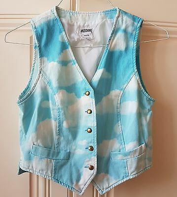 Moschino Vintage Ita 42 Uk 12 Jeans Vest Gilet Nuvole Clouds Print Rare As New