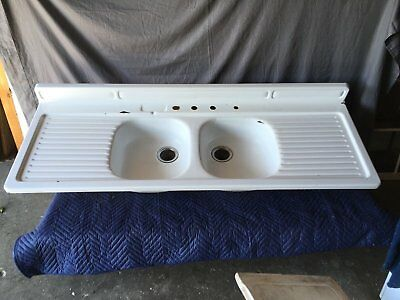 Vtg Mid Century Steel White Porcelain Double Basin Drainboard Farm Sink 588-17E