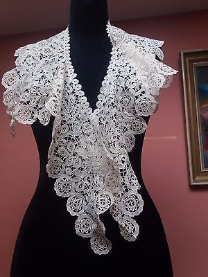Vintage Handmade Large Lace Bertha Collar Honiton? Brussels?  Victorian Antique