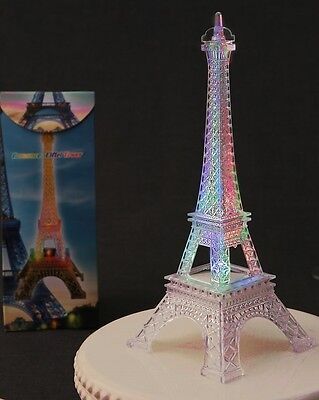 "Eiffel Tower Replica- 10"" Flashes with changing colors - Plastic"
