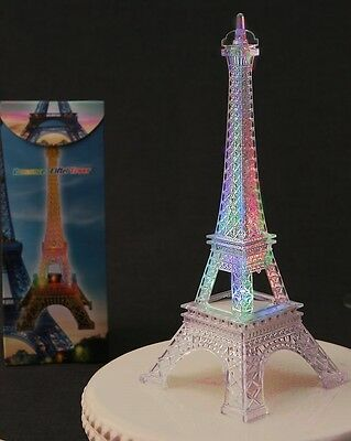 "Eiffel Tower Replica- 10"" Lights up with changing colors & intermittent flashes"