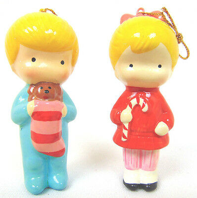"""Lot of 2 JOAN WALSH ANGLUND 3"""" XMAS Boy with Stocking & Girl with Candy Cane EUC"""