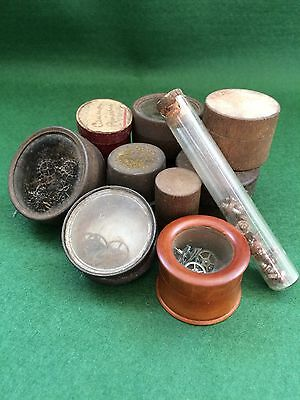 Selection of Antique Watchmakers Storage Pots inc' Contents