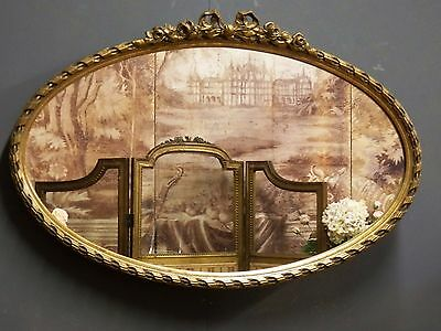 Original 1960's Gilt Gold Ribbon Top French Style Oval Wall Mirror