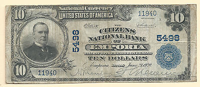 1902 PB $10 LARGE NATIONAL BANK NOTE, EMPORIA, KS 5498 - FINE - 3m34