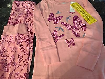 OLD NAVY Toddler Girl PAJAMA SET Pink BUTTERFLY'S Size 5T New In Package NWT !!